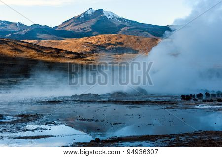Valley Geysers At El Tatio, Northern Chile At Sunrise