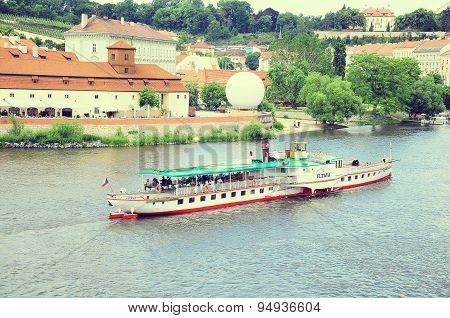 View Of  Vltava River And Retro Ferry.