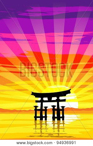 Japanese Tori Gate By The Lake At Sunrise. Eps10 Vector