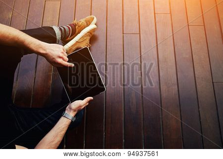 Top view modern successful businessman working on his digital tablet with big copy space