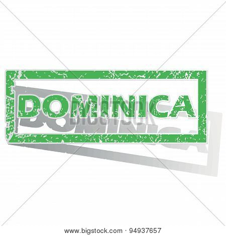 Green outlined Dominica stamp