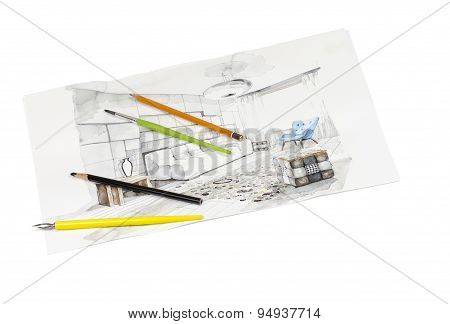 Isolated writing tools shot on perspective view living room watercolor sketch painting