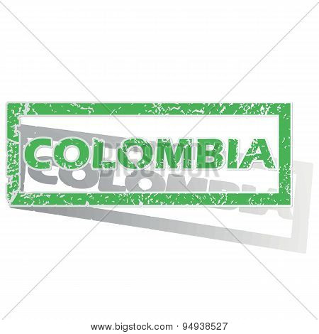 Green outlined Colombia stamp