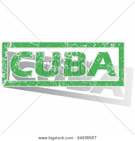 Green outlined Cuba stamp