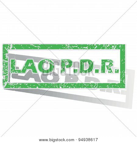 Green outlined Lao PDR stamp