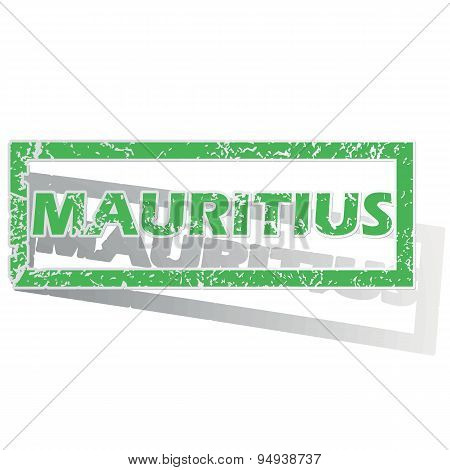 Green outlined Mauritius stamp