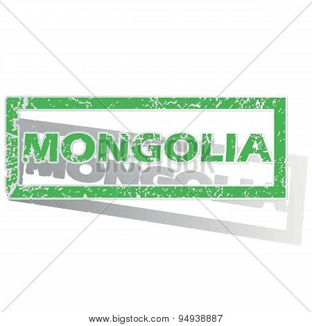 Green outlined Mongolia stamp