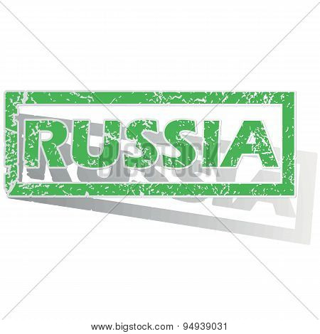 Green outlined Russia stamp