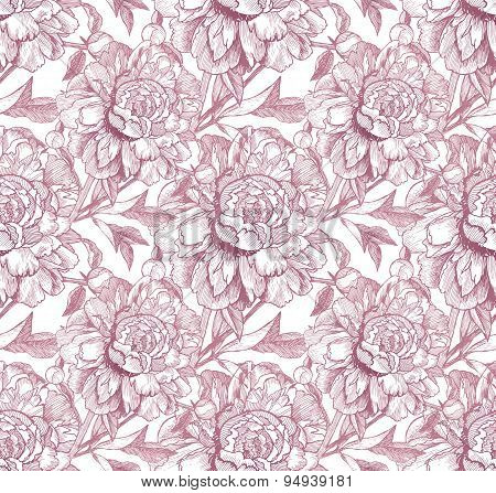 Vintage style vector peony pink seamless pattern