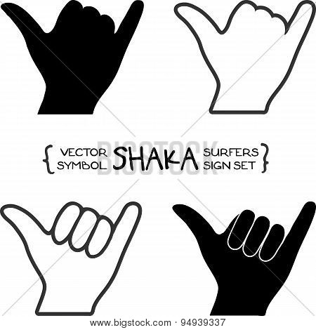Vector surfers shaka hand sign