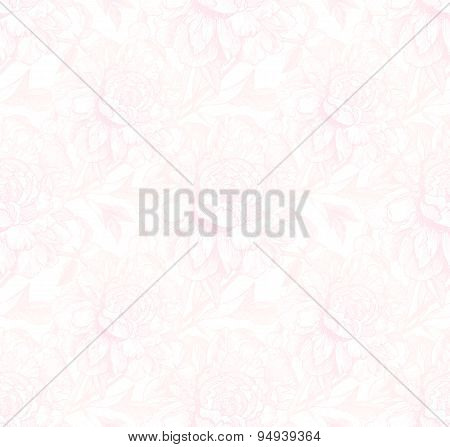 Vintage style vector peony light pink seamless pattern
