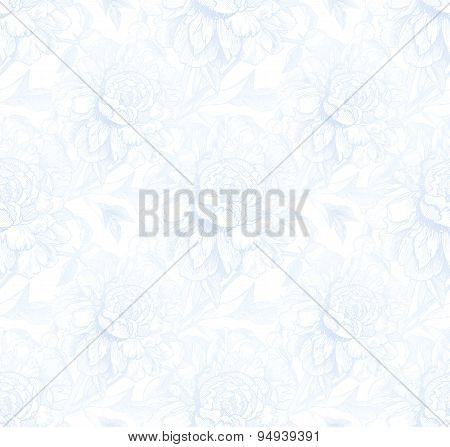 Vintage style vector peony light blue seamless pattern