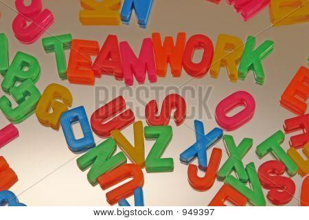 Teamwork Letters On Mirror