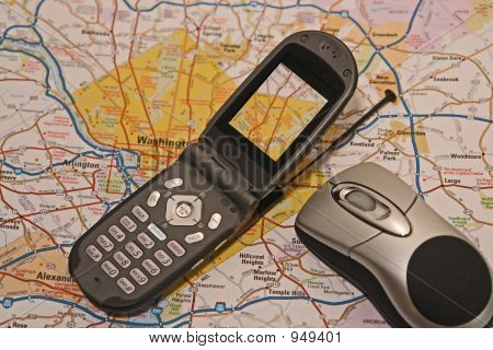 Cell Phone With Map On Screen