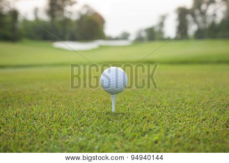 Golf Ball On Tee With Defocused Background