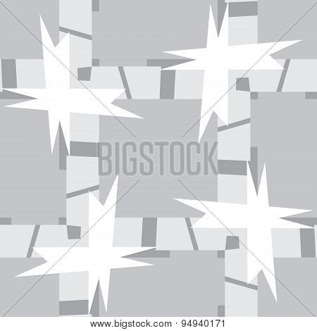 Gray Lines And Shapes In Seamless Pattern
