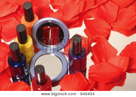 Nail Polish With Rose Peddle And Compact Mirror