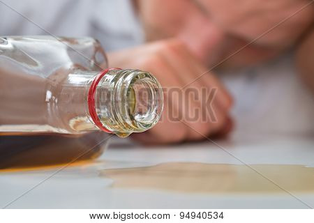 Drunk Man With A Bottle Of Liquor