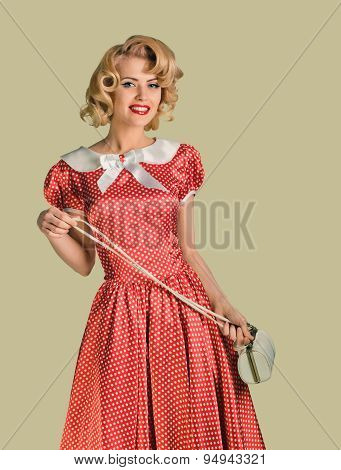 pinup woman and purse