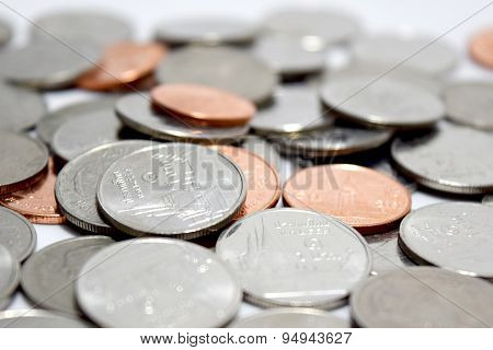 Baht coins money close up abstract background