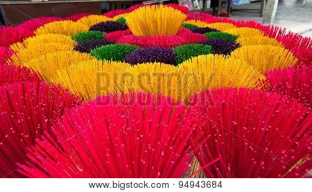 Colorful incense sticks in Hue, Vietnam for Buddhist monastery