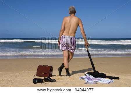 Business Man Retired On Caribbean Beach