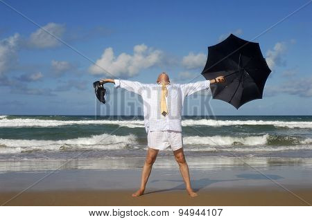 Businessman Enjoying Freedom On A Beautiful Tropical Beach