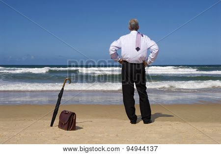 Retired Senior Man On Beach Vacation