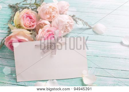 Background With Fresh Roses Flowers And Empty Tag