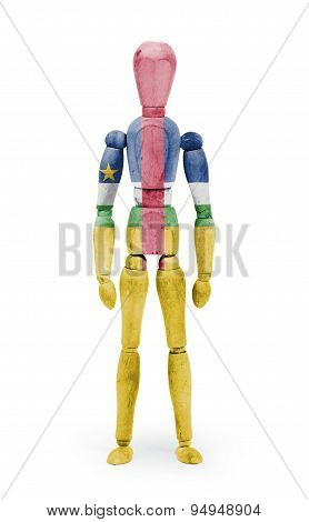 Wood Figure Mannequin With Flag Bodypaint - Central African Republic
