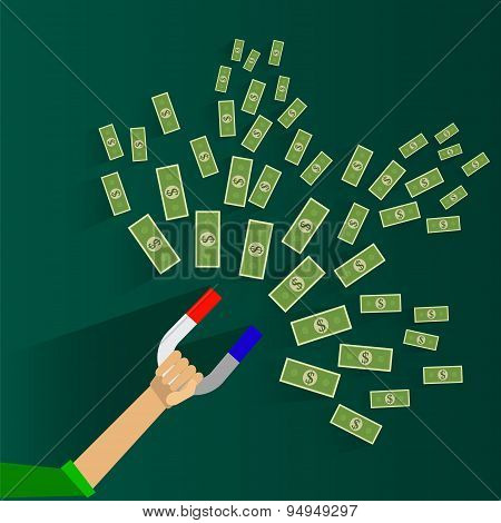Attracting investments concept. Money business success dollar magnet. Vector illustration