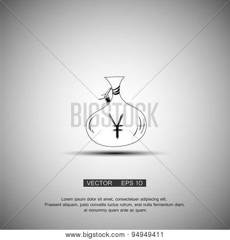 Money bag icon.Yen JPY currency speech bubble symbol. Flat design style.