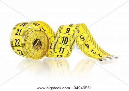 Yellow Measuring Tape Isolated On White Background