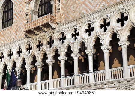 Architectural Detail Of Doge S Palace In Venice