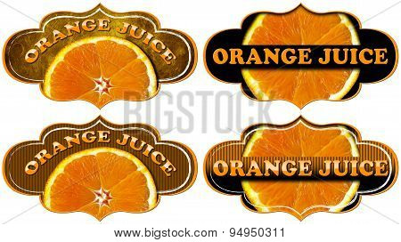 Collection Of Orange Juice Labels