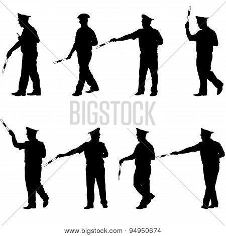 Set Black Silhouettes  Police Officer  With A Rod On White Backg