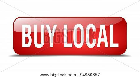 Buy Local Red Square 3D Realistic Isolated Web Button