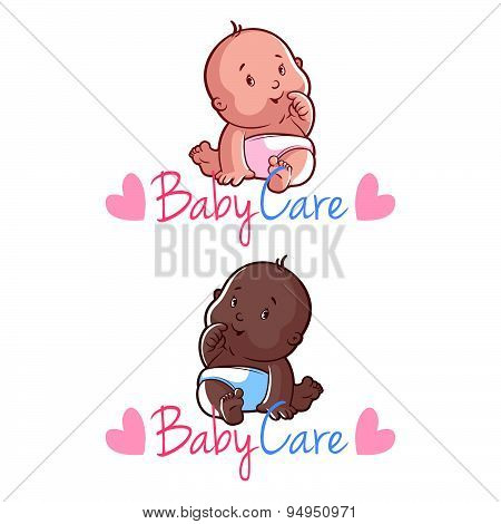 Two Toddler. Vector Illustration On A White Background. Baby Care Logo