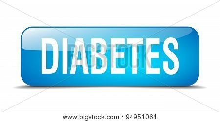 Diabetes Blue Square 3D Realistic Isolated Web Button