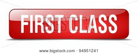 First Class Red Square 3D Realistic Isolated Web Button