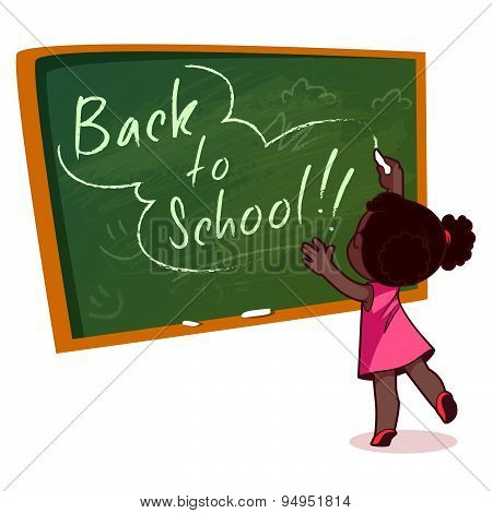 Little African American Girl Writing On A School Board With Chalk. Vector Illustration On A White Ba