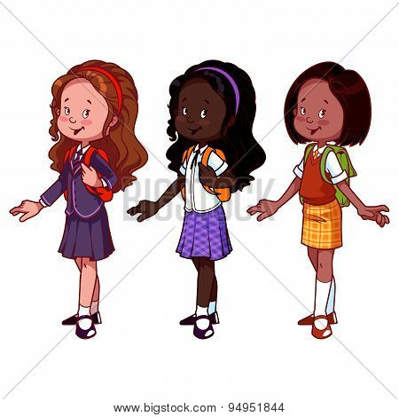 Three Cute Girls In School Uniform. Vector Illustration On A White Background.