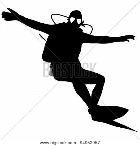 Black Silhouette Scuba Divers. Vector Illustration.