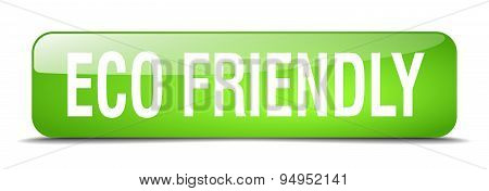 Eco Friendly Green Square 3D Realistic Isolated Web Button