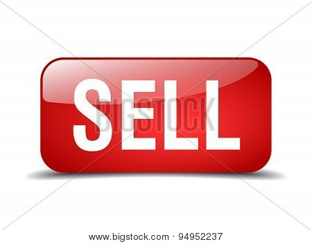 Sell Red Square 3D Realistic Isolated Web Button