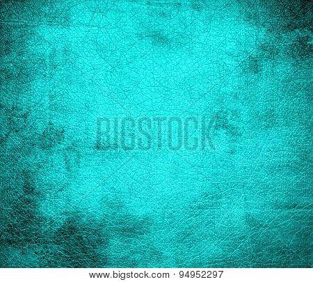 Grunge background of aqua leather texture