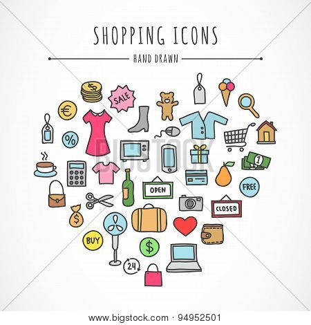 Hand drawn shopping icons: clothes, computer, electronics, bags, money, toys, food