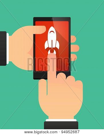 Man's Hands Using A Phone Showing A Rocket
