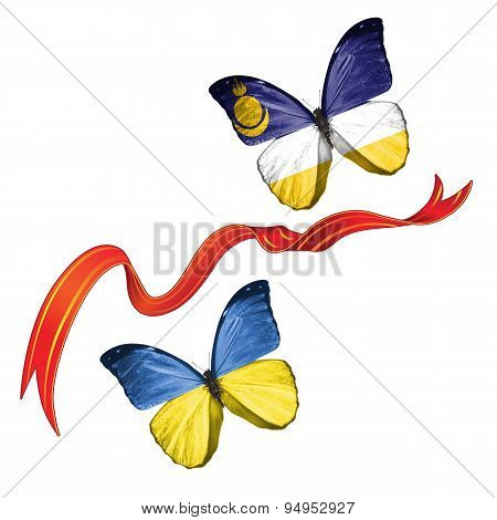 Two butterflies with symbols of Ukraine and Buryatia (Russia)
