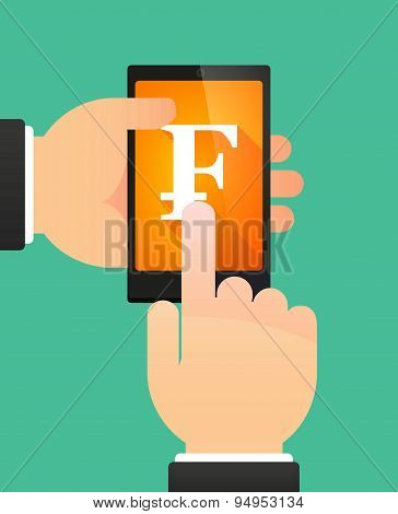 Man's Hands Using A Phone Showing A Swiss Franc Sign